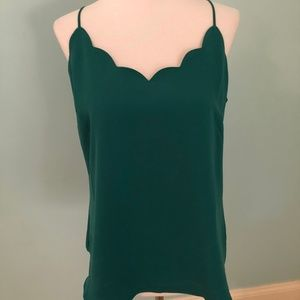 Sleeveless Green Scalloped Top